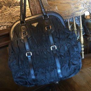 Prada black ruched nylon tote purse